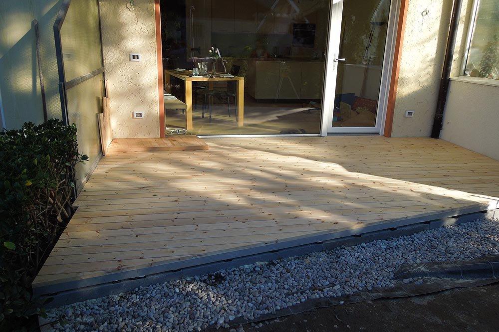 Terrazza in legno di pino cembro